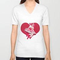 madoka V-neck T-shirts featuring Madoka Kaname by Roots-Love