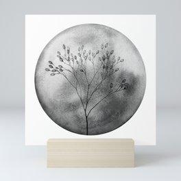 Autumn in the meadow, bw Mini Art Print