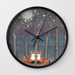 dreamy foxes Wall Clock