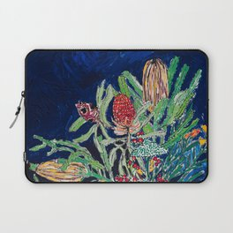 Yellow and Red Australian Wildflower Bouquet in Pottery Vase on Navy, Original Still Life Painting Laptop Sleeve
