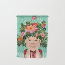 Spring Flower Girl Wall Hanging