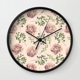 Rose Pattern Light Pink + Green Wall Clock