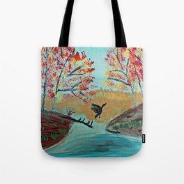 Autumn Duck Pond Tote Bag