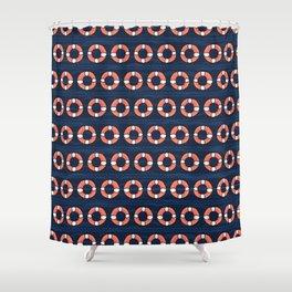 Cute lifering stripe cartoon seamless pattern. Shower Curtain