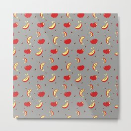 Apples on grey - repeating all-over print  Metal Print