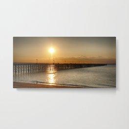 Golden Sunlight over a Wooden Pier, Keansburg, New Jersey, USA Metal Print