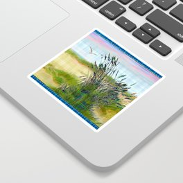 Plaid Beachscape with Seagrass Sticker