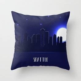 Seattle skyline silhouette at night Throw Pillow
