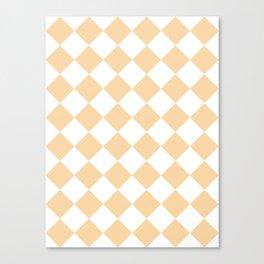 Large Diamonds - White and Sunset Orange Canvas Print