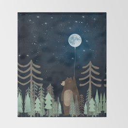 the moon balloon Throw Blanket