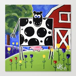 Smiley Smile Dairy Cow Farm Red Barn Moo Holstein Series Milk Flowers Trees Hills Tulips Canvas Print