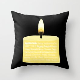 Happy Holidays Candle Throw Pillow