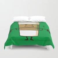 strong Duvet Covers featuring Strong Coffee by Picomodi