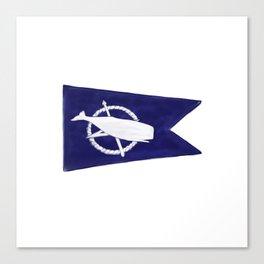 Nantucket Blue and White Sperm Whale Burgee Flag Hand-Painted Canvas Print