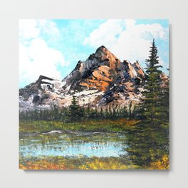 Bob Ross Mountain Artwork Metal Print