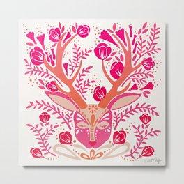 Floral Antlers – Peachy Pink Palette Metal Print