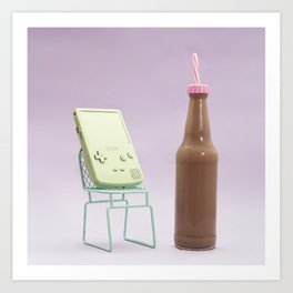 Video games and chocolate milkshake Art Print