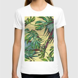 Tropical Palm Leaves on Wood T-shirt