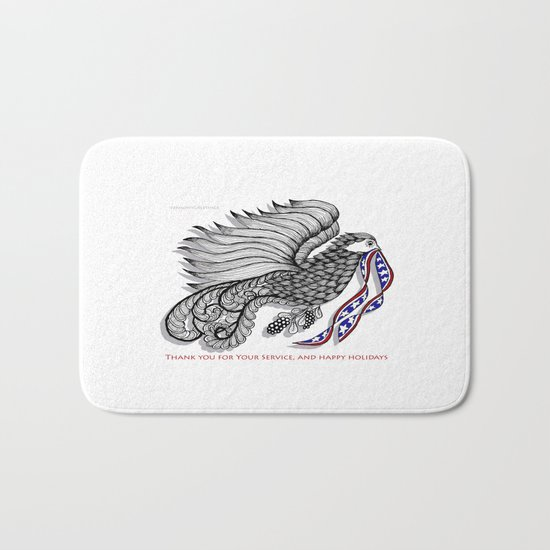 Veterans Happy Holiday and Thank You for Your Service - Zentangle Illustration Bath Mat