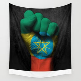 Ethiopian Flag on a Raised Clenched Fist Wall Tapestry