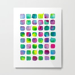 Watercolor Squares Metal Print