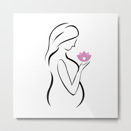 Pregnant mother holding a pink lotus flower Metal Print