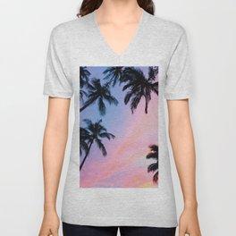 Sunset Palm Trees Unisex V-Neck