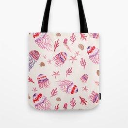 Jellyfish in Magenta Tote Bag