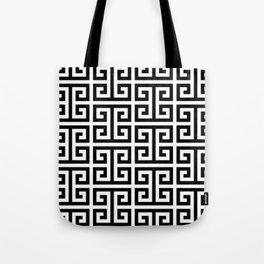 Large Black and White Greek Key Pattern Tote Bag