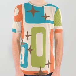 Retro Mid Century Modern Abstract Pattern 921 Orange Chartreuse Turquoise All Over Graphic Tee