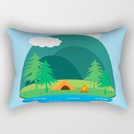 Camping Adventure Vector Landscape Rectangular Pillow