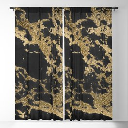 Modern faux gold glitter black marble Blackout Curtain