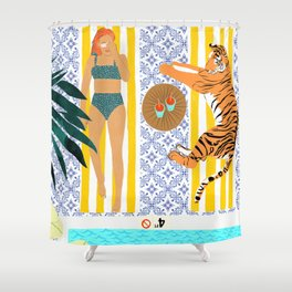 How To Vacay With Your Tiger #illustration Shower Curtain