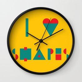 I heart Shapes Wall Clock