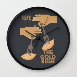 The gold rush, movie illustration, Charlie Chaplin film, vintage poster, Charlot, b&w cinema Wall Clock