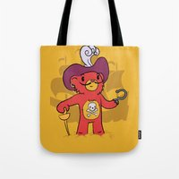 captain hook Tote Bags featuring Captain Bear Hook by pepemaracas