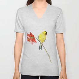 American Goldfinch and Red Flower, Minimalist Yellow Red Floral art Unisex V-Neck
