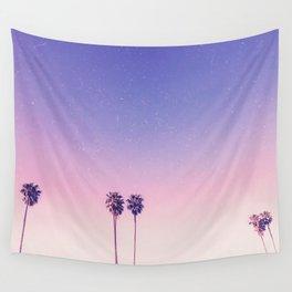 Peachy Purple Palms Wall Tapestry