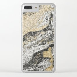 Vintage chic black gold yellow abstract marble Clear iPhone Case