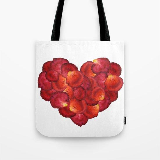 Red Petal Heart Tote Bag