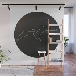 one line bird - circled seagulll Wall Mural