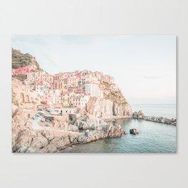 Positano, Italy Amalfi coast pink-peach-white travel photography in hd Canvas Print