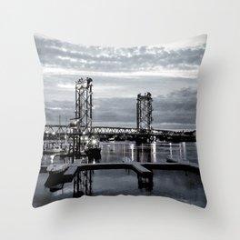 B&W Night Bridge Lights Throw Pillow