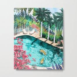 Luxury Tiger Villa illustration, Architecture Travel Nature Painting, Hotel Landscape Garden Metal Print