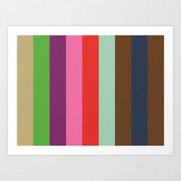 EKPHRASIS : (E)cru (K)elly Green (P)urple (H)ot Pink (R)ed (A)quamarine (S)epia (I)ndigo (S)epia.  Art Print