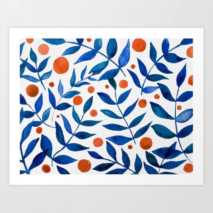 Watercolor berries and branches - blue and orange Kunstdrucke