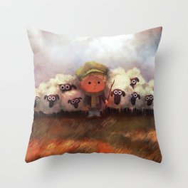 A Boy and His Herd Throw Pillow