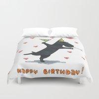 happy birthday Duvet Covers featuring Happy Birthday! by Lisidza's art