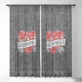Bibliophile Heart Sheer Curtain