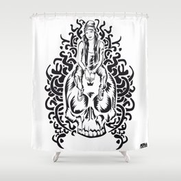 ONE INK SKULL Shower Curtain